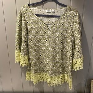 Cato Yellow/Green Womens Printed Blouse